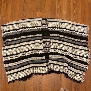 Black and White Embroidered Ruana